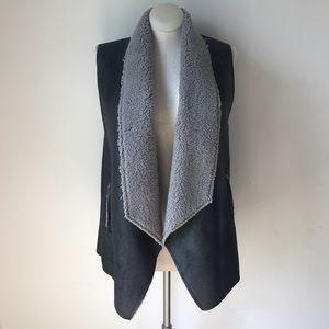 Women's B.B. DAKOTA Faux Fur and Leather Vest NWT